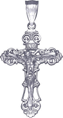 """Small Sterling Silver Crucifix Cross Charm with Jesus Pendant Necklace 18"""" Chain"""