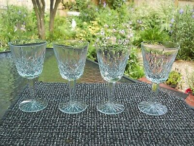Set of 4 Waterford Lismore White Wine Glasses Elegant Crystal Ireland