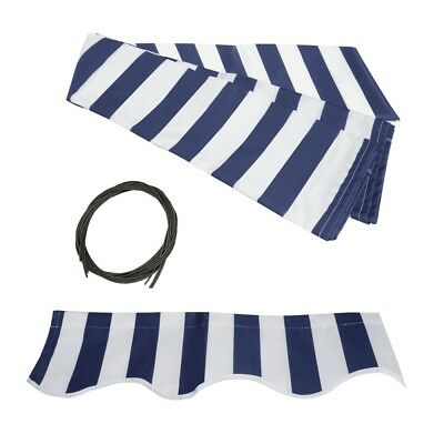 ALEKO Fabric Replacement For 12x10 Ft Retractable Awning Blue and White Color