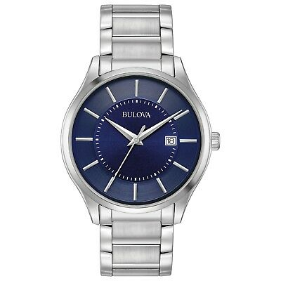 Bulova Men's Quartz Dark Blue Dial Silver-Tone Stainless Steel Bracelet 96B266