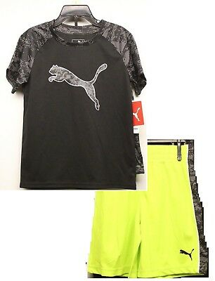 PUMA Boy's 2 Piece Tee and Short Set Sizes 4, 5 & 6 Black/Neon Green, NWT