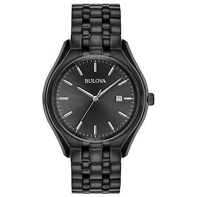 Bulova Men's Quartz Black Dial Stainless Steel 41mm Bracelet 98B289 Watch