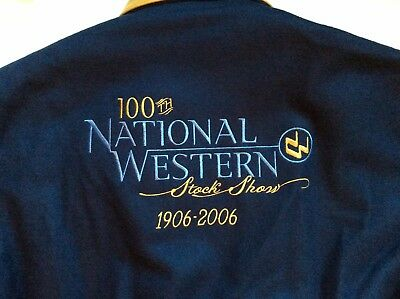 NATIONAL WESTERN STOCK SHOW RODEO Trophy Bomber Jacket Coat S Wool Leather NWT