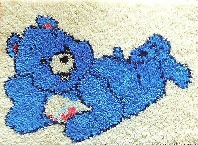 Latch Hook   Completed Blue Teddy Bear Rug    Brand New