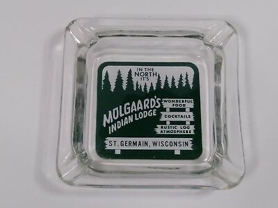 vintage clear glass ashtray Molgaard's Indian Lodge St Germain Wisconsin