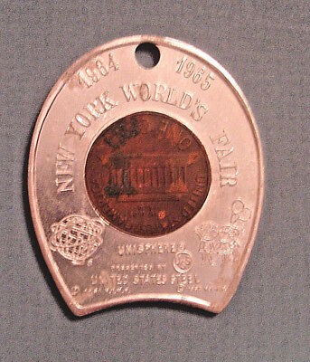 1964 New York Worlds Fair ENCASED CENT LUCKY PENNY United States Steel Unisphere