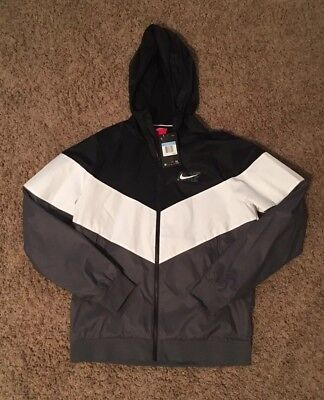 NIKE SPORTSWEAR HD GX FULL ZIP WINDRUNNER BLACK WHITE GREY AJ1396 010 US SZ M