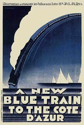 Art Deco 1920s French Travel Poster Le Train Bleu Railway Cote d' Azur Riviera