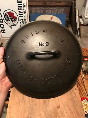 Vtg Griswold # No 9 Cast Iron Tite Top Dutch Oven Lid Cover 2552 Erie PA USA