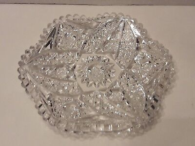 American Brilliant Period Abp Vintage Cut Glass Plate Low Dish