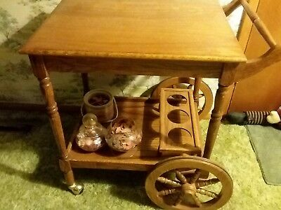 Vintage Tea Cart Wooden Antique Furniture with Wheels and Handle