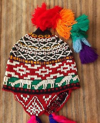 AUTHENTIC HANDMADE BEADED CHULLO from CUSCO - PERU SHAMAN HAT