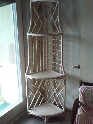 Vintage Mid Century Chinese Chippendale Bamboo 4 Tier white wash Corner Unit