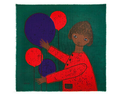Vintage 1960s 70s Green Girl & Red / Blue Balloons Fabric Wall Hanging - Signed