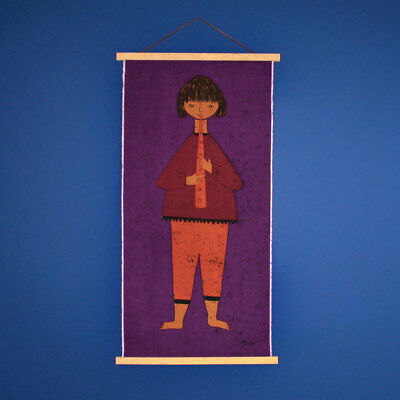 Vintage 1960s 70s HUGE Purple Girl Playing Clarinet Fabric Wall Hanging - Signed