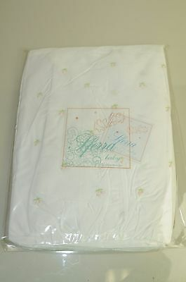 NEW SFERRA BABY Smocking Annie's Dust Skirt Crib PINK EMBROIDERED ROSES White