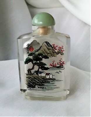 Glass Snuff bottle, Reverse painted    dw