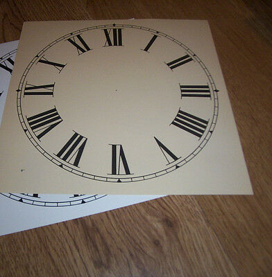 "Paper Clock Dial - 9"" (M/T) - Roman - Matt Cream  - Face / Clock Parts /Spares"