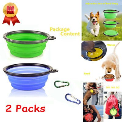 2Pacs Food Grade Silicone BPA Free Foldable Expandable Cup Collapsible Dog Bowl