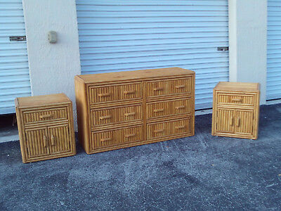 Vintage Mid Century Bamboo Dresser And Pair Of Night Stands