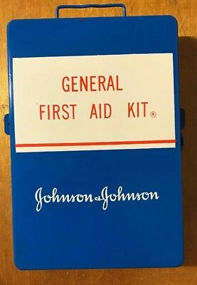 Vintage General First Aid Kit Johnson and Johnson Metal Box.  Health  Wall Mount
