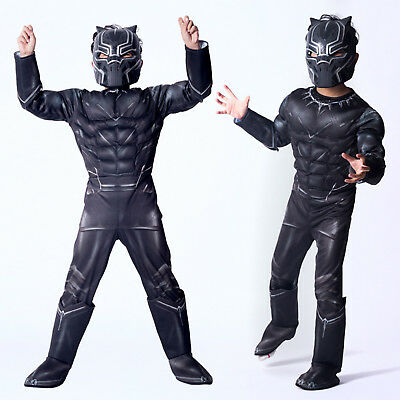 Black Panther Deluxe Battle Suit Child Costume Cosplay Jumpsuit+Mask Outfit Set