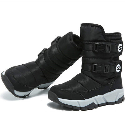 Winter Unisex Kids Warm Snow Boots Fur Lined Shoes for Girls Boys Outdoor F05-45