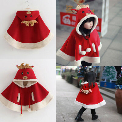 Christmas Xmas Girl Kids Baby Hooded Warm Outwear Jacket Clothes Cloak Coat Cape