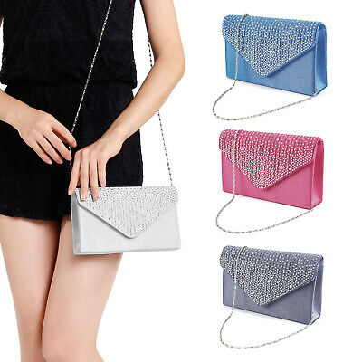 Women Satin Evening Bag Bridal Diamante Clutch Bag Envelope Handbag Shoulder Bag