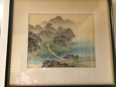 Large Framed Japanese Chinese Silk Painting