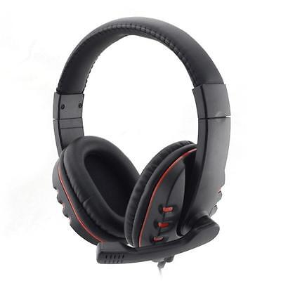 USB 2.0 Leather Wired Gaming Headset Headphone with Microphone for PS3 PS4 PC OU