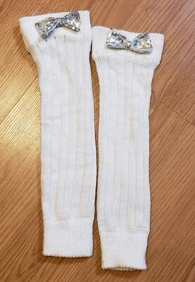 Girls One Size White & Silver w/ Silver Sequin Bow Leg Warmers CUTE!
