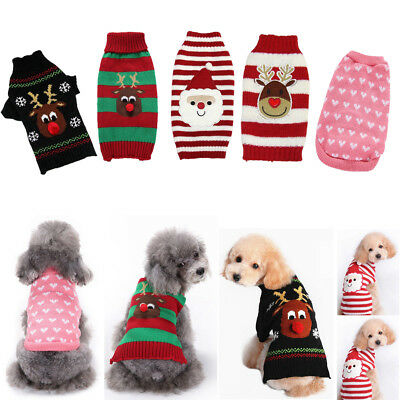 Puppy Pet Dog Cat Clothes Winter Warm Knitted Sweater Coat Xmas Costume Apparel