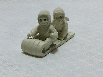 "Dept 56 Snowbabies Miniatures ""down The Hill We Go"" Set Of 2 - Pewter"