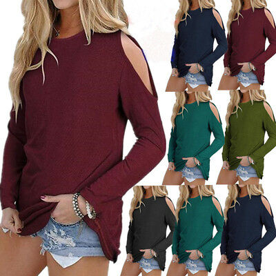 US Womens Cold Shoulder Solid Long Sleeve Tops Blouse Ladies Casual T Shirt Tee