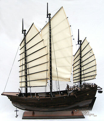 """Chinese Junk Handcrafted Wooden Model Boat 29"""""""