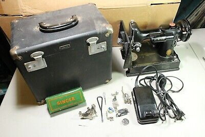Vintage 1956 Singer Featherweight Sewing Machine Model 221 w Box & Accessories
