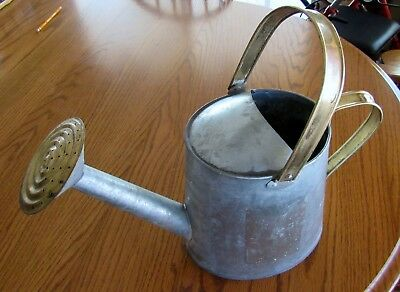 """Vintage Galvanized Water Can Farm Garden Decor Height 14"""" With Handle"""