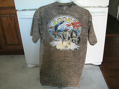 Rodeo The wild ride large shirt 3d acid wash vintage retro 1990's