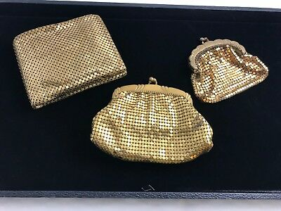 Vintage Whiting And Davis Goldtone Mesh Wallet & Coin Purse