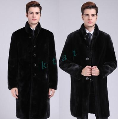 Mens Long trench parkas Jacket warm luxury fur collar Business outwear coat New