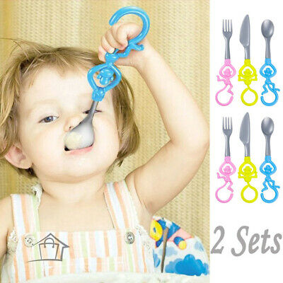 Table Monkey Kids Cutlery Set x 2 Hoobbe Plastic 2 Forks 2 Knifes 2 Spoons Baby