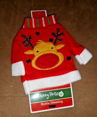 Reindeer Wine Bottle Decor by Merry Brite   Brand New with Tag