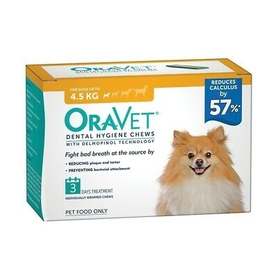 Oravet Plaque & Tartar Control Chews for Extra Small Dogs up to 4.5kg - 3-Pack
