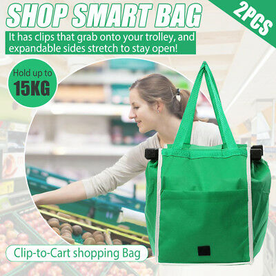 Folding Women Shopping Bag Reusable Eco Grocery Market Cart Trolley Handlebag