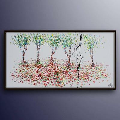 """Trees in Forest 55"""" Original unique oil painting on canvas, red and green colors"""