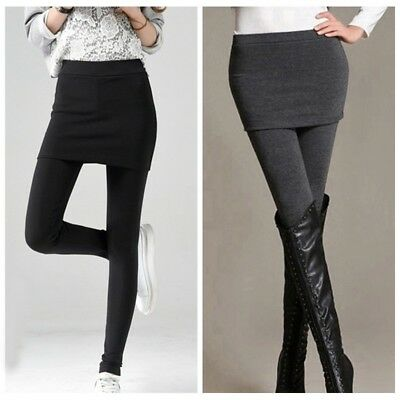 Women's Winter Thick Warm Skirt Leggings Waist Yoga Stretch Skinny Pant Culottes