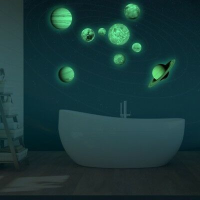US SOLAR SYSTEM Glow In The Dark Wall Stickers Planets Mars Decal Kids Room Gift