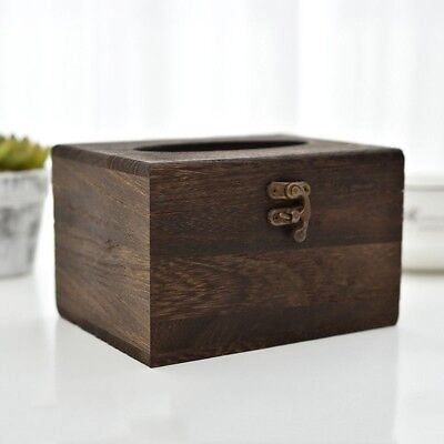 1PC  Wooden Retro Tissue Box Cover Paper Napkin Holder Case Home Car Decoration