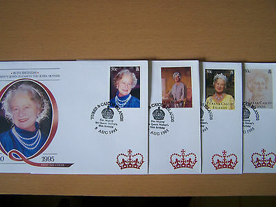 Turks & Caicos, Queen Mother 95Th Birthday, 4 Different First Day Covers,nice.